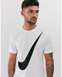 Nike – T-Shirt mit großem Swoosh-Logo in White für Herren