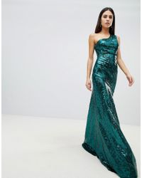 9592f361cf Goddiva One Shoulder Sequin Maxi Dress In Emerald Green in Green - Lyst