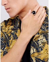 Reclaimed (vintage) - Multicolor Inspired Black Oval Stone Ring In Silver Exclusive To Asos for Men - Lyst