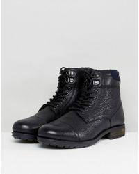 Kurt Geiger - Rayn Lace Up Boots In Black for Men - Lyst