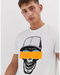 T-shirt à motif graphique avec du fluo Brave Soul pour homme en coloris White
