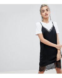 ASOS Black Lace Insert Slip Mini Dress