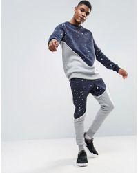 Abuze London - Blue Splash Panelo Crew Neck Sweater for Men - Lyst
