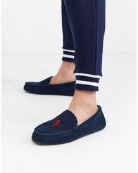 Ralph Lauren Blue Mens Navy Dezi Iv Moccasin Slippers for men