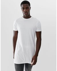 ASOS White Super Longline T-shirt With Crew Neck for men