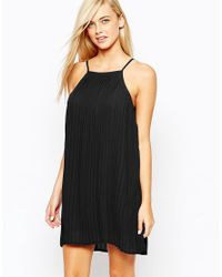 Fashion Union | Black Pleated Swing Dress With Halter Neck | Lyst