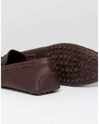 ASOS Drivers In Brown Leather With Embossed Detail for men
