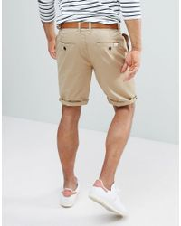 Bershka Multicolor Belted Chino Shorts In Tan for men