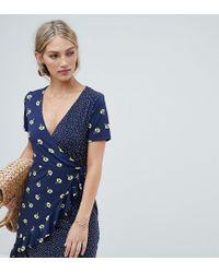 Warehouse Blue Wrap Dress With Ruffle Detail In Mixed Floral And Polka Print