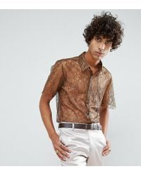 Reclaimed (vintage) Brown Inspired Lace Shirt With Short Sleeves In Reg Fit for men