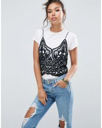 ASOS | Black Plunge Cami In Heavy Lace | Lyst