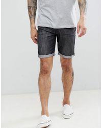 Pantaloncini di jeans basic con risvolti di Threadbare in Black da Uomo