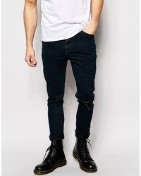 ASOS - Jeans super skinny con strappi e rammendi di ASOS in Black da Uomo