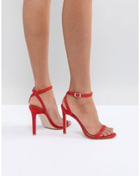 Public Desire Notion Red Barely There Heeled Sandals