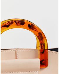 Pieces Multicolor – Shopper-Tasche mit Riemen und kontrastierenden Griffen oben