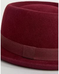 ASOS - Red Asos Felt Pork Pie Hat With Size Adjuster - Lyst