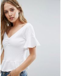 Mango - White Off The Shoulder Frill Hem And Sleeve Top - Lyst