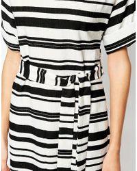 Warehouse Black Textured Stripe Dress