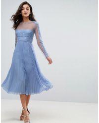 ASOS Purple Ruffle Pleated Lace Mix Midi Dress