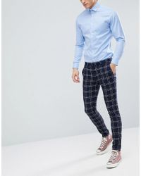 ASOS Blue Wedding Super Skinny Suit Trousers In Navy Waffle Check for men