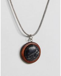 ASOS - Metallic Necklace With Wooden Pendant for Men - Lyst