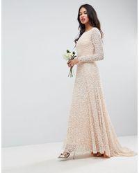 ASOS Pink Bridal All Over Embellished Long Sleeve Maxi Dress