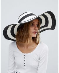 Vero Moda Black Wide Brim Straw Hat