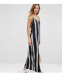 ASOS Multicolor Maxi Dress With V Back In Blurred Stripe
