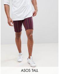 ASOS Tall - Pantaloncini slim con stampa astratta di ASOS in Blue da Uomo