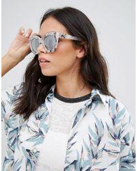 Quay Sugar And Spice White Marble Sunglasses