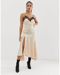Boohoo Natural Exclusive Satin Slip Dress