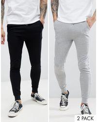 Confezione da 2 joggers super skinny nero/grigio mélange di ASOS in Multicolor da Uomo