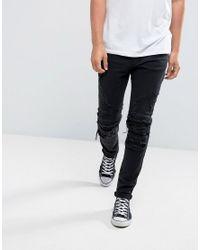 Cayler & Sons Skinny Biker Jeans In Black With Distressing for men