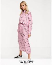 Falda midi con estampado Another Reason de color Pink