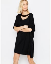 ASOS Black Oversized T-shirt Dress With Cut Out Detail
