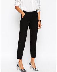 ASOS Black Ankle Grazer Cigarette Trousers In Crepe