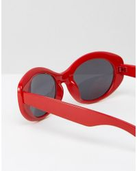 ASOS - Oval Rounded Sunglasses In Red for Men - Lyst