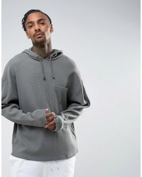 ASOS Green Oversized Hoodie In Waffle With Chest Pocket for men
