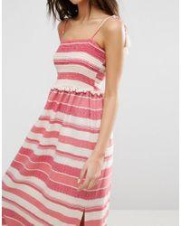 ASOS - Pink Shirred Maxi Dress With Pom Pom Detail - Lyst