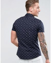 ASOS - Black Design Stretch Slim Shirt With Dotted Print for Men - Lyst