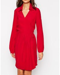 ASOS - Red Tall Exclusive Wrap Dress With Long Sleeve And Tie Waist - Lyst