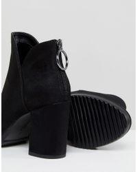 Bershka - Black Zip Back Heeled Ankle Boot - Lyst