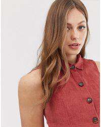 Blusa di lino rossa senza maniche con bottoni sul davanti di Mango in Red