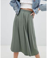 Jupe mi-longue avec plis plats ASOS en coloris Green