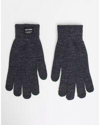 Серые Вязаные Перчатки -серый Jack & Jones для него, цвет: Gray