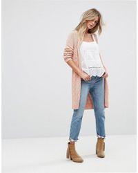 Vero Moda - Pink Long Open Knit Cardigan - Lyst