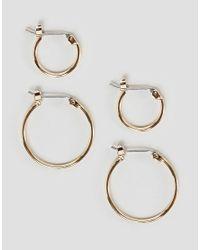 Pieces - Metallic Hoop Multipack Earrings - Lyst
