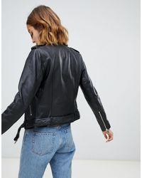 Barney's Originals Black Barney's Originals Leather Jacket With Belt