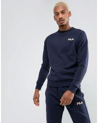 Fila Blue Fila Black Sweatshirt Small Retro Logo In Navy for men
