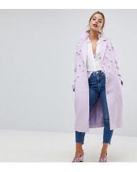 ASOS - Purple Pearl Soft Coat - Lyst